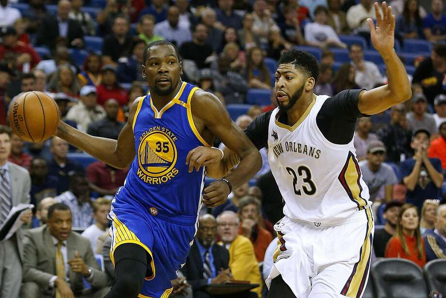 NEW ORLEANS, LA - OCTOBER 28: Kevin Durant #35 of the Golden State Warriors drives against Anthony Davis #23 of the New Orleans Pelicans during the second half of a game at Smoothie King Center on October 28, 2016 in New Orleans, Louisiana. NOTE TO USER: User expressly acknowledges and agrees that, by downloading and or using this photograph, User is consenting to the terms and conditions of the Getty Images License Agreement.  (Photo by Jonathan Bachman/Getty Images) Photo: Jonathan Bachman, Getty Images