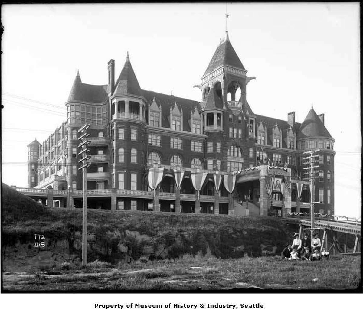 The Denny Hotel: Or Hotel Washington, depending on when in its short life you were naming it. The Denny Hotel began development by Arthur Denny and several other investors in 1889, but only a shell went up initially. The panic of 1893 stalled construction for nearly a decade, until James Moore bought the property and in short order turned it into the grand