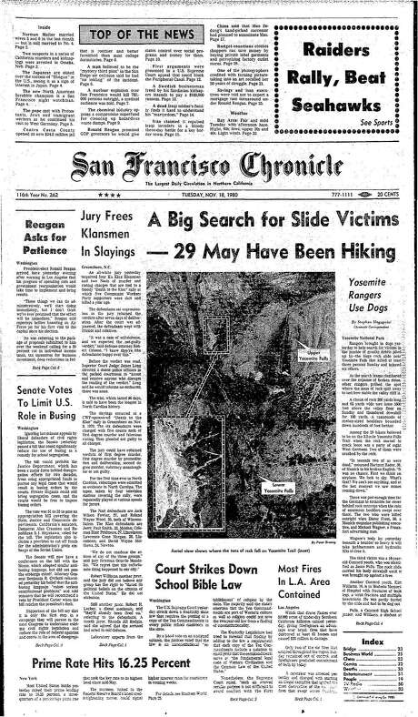 The Chronicle's front page from Nov. 18, 1980, covers a rockslide in Yosemite National Park. Photo: The Chronicle 1980