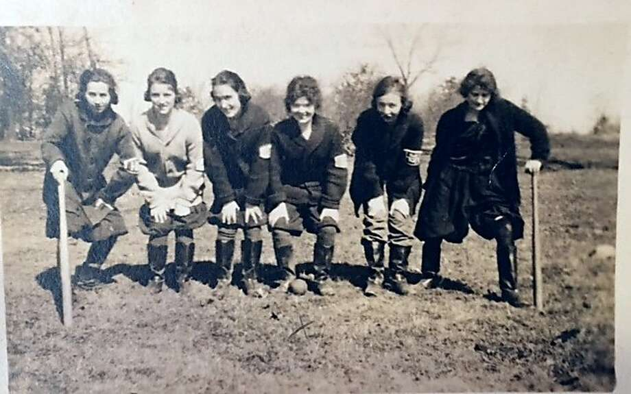 Members of the Illinois Bell women's baseball team in Chicago's Lincoln Park circa 1915. The team played during World War I. Fourth from left, Ann Byrne Shea's mother, Marie Maloney. (Photo courtesy Shea family.)