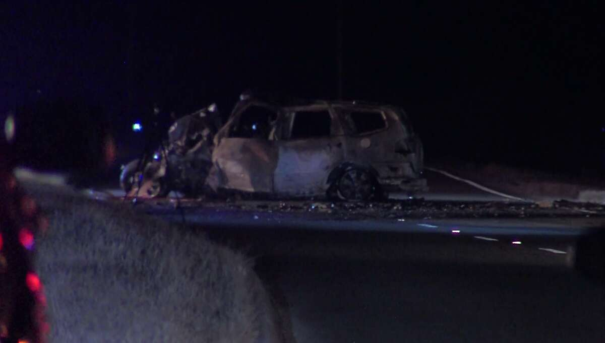 San Antonio police investigate a deadly head-on collision that killed four Friday night, Oct. 28, 2016, on the South Side.
