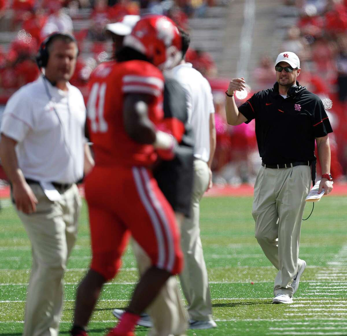 Houston Cougars head coach Tom Herman on the sideline during the second quarter of a college football game at TDECU Stadium, Saturday,Oct. 29, 2016 in Houston.
