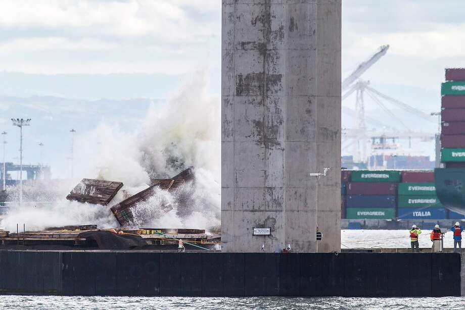 A marine foundation from the old eastern span of the old Bay Bridge is blown up. Photo: Santiago Mejia, The Chronicle