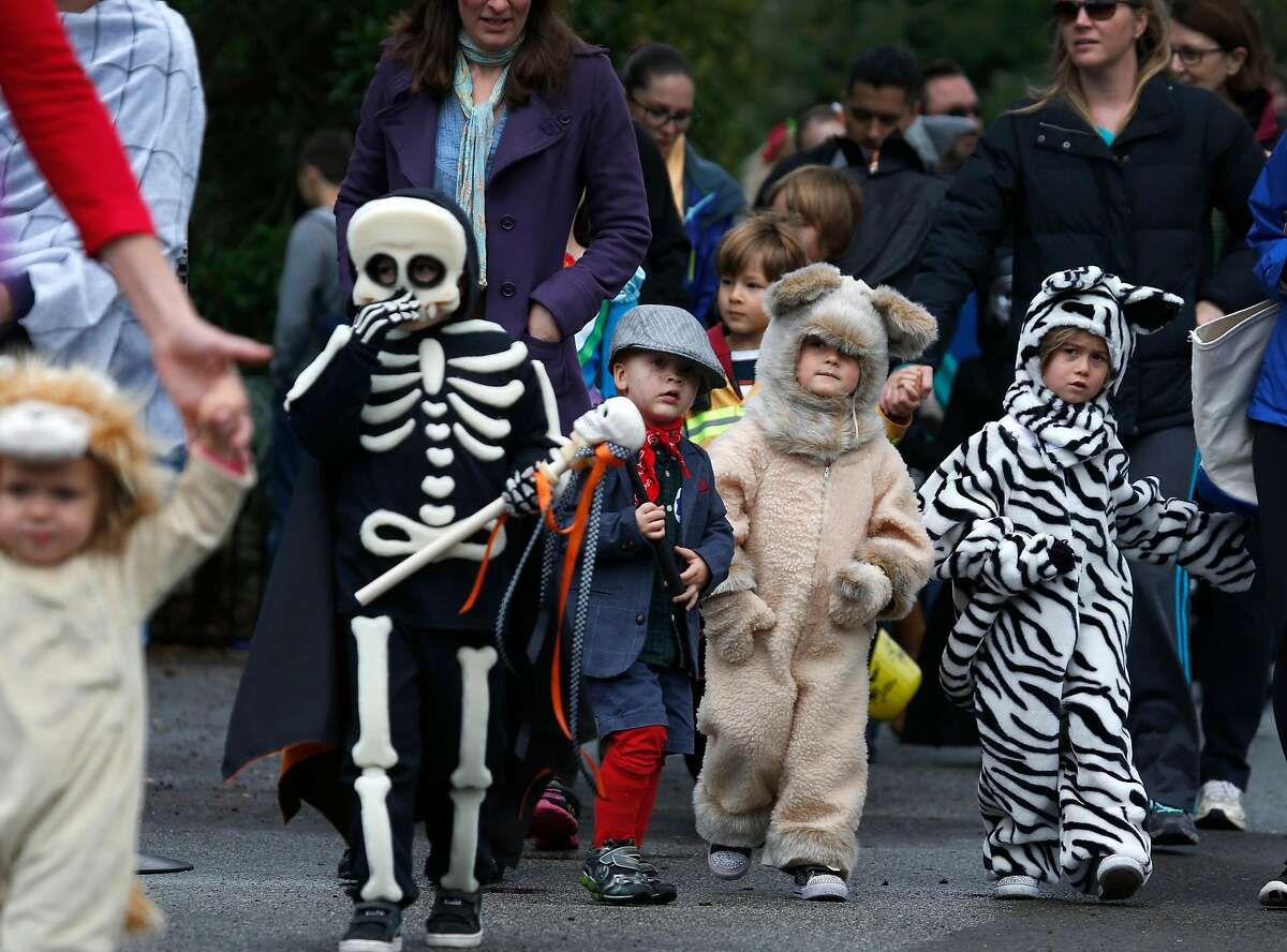 Children march in the costume parade and contest at the San Francisco Zoo's annual Boo at the Zoo Halloween celebration in San Francisco, Calif. on Saturday, Oct. 29, 2016.