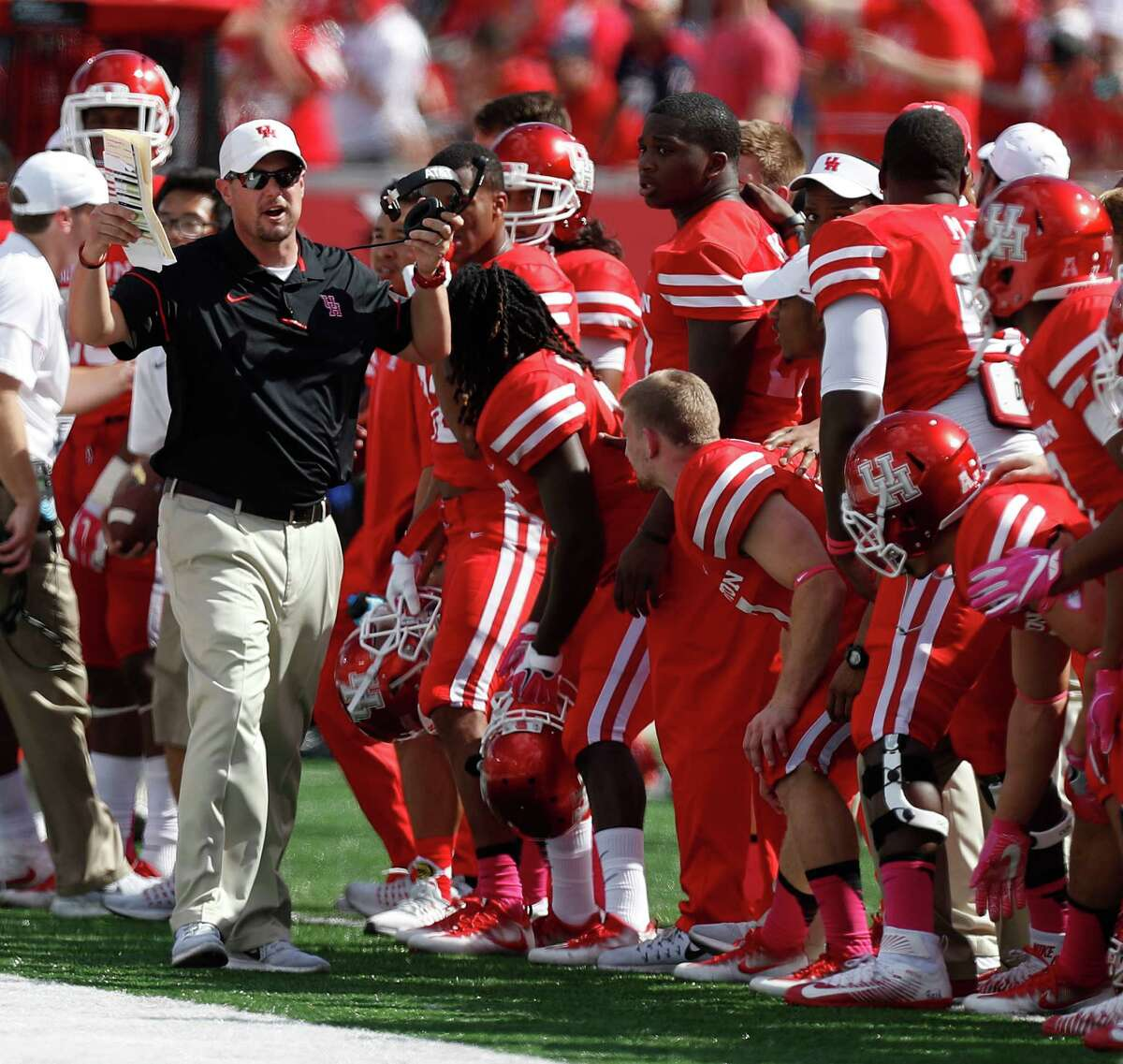 Houston Cougars head coach Tom Herman on the sidelines during the fourth quarter of a college football game at TDECU Stadium, Saturday,Oct. 29, 2016 in Houston.