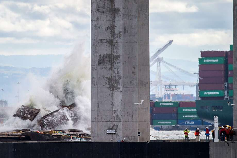 A marine foundation from the old eastern span of the Bay Bridge was imploded, on Saturday, Oct. 29, 2016 in San Francisco, Calif. Photo: Santiago Mejia, The Chronicle