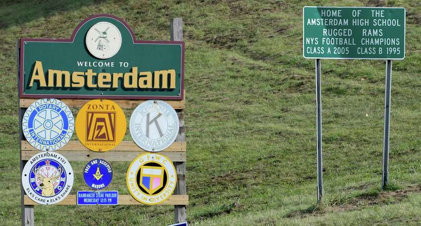 The welcome sign just north of the I 90 exit Friday Oct. 21, 2016 in Amsterdam, N.Y. (Skip Dickstein/Times Union)