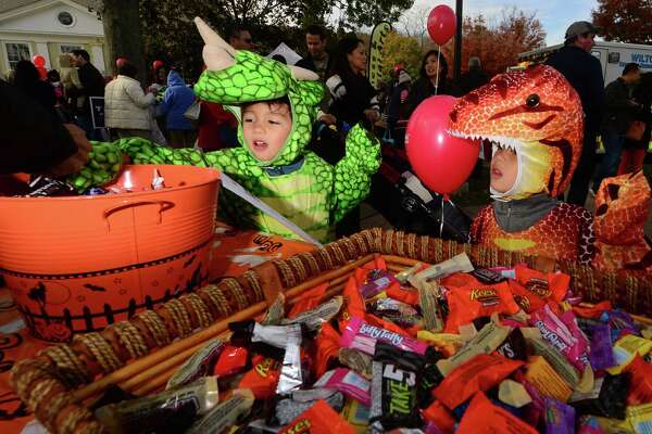 The Wilton Chamber of Commerce annual trick-or-treating and pumpkin parade in Wilton Center Saturday, October 29, 2016, in Wilton, Conn..