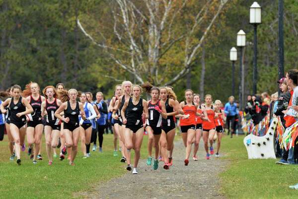 Start of the girl's's varsity Suburban Council cross country championships  Saturday Oct. 29, 2016 in Saratoga Springs, NY.  (John Carl D'Annibale / Times Union)
