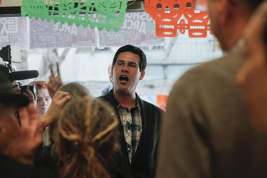 Joshua Arce speaks to volunteer canvassers at his campaign's headquarters on Saturday, Oct. 29, 2016 in San Francisco, Calif. Arce is running for San Francisco County Supervisor in the November 2016 election. Photo: Gabriella Angotti-Jones, The Chronicle