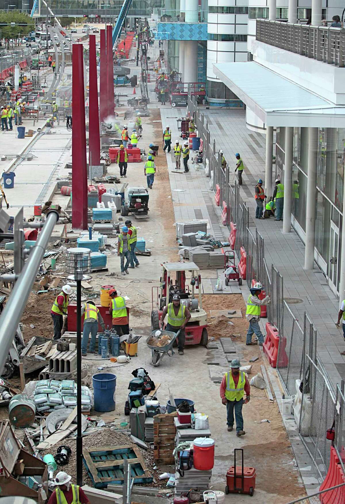 With 100 days before Super Bowl LI, construction crews stayed busy Friday with, among other projects, upgrades to the George R. Brown Convention Center.