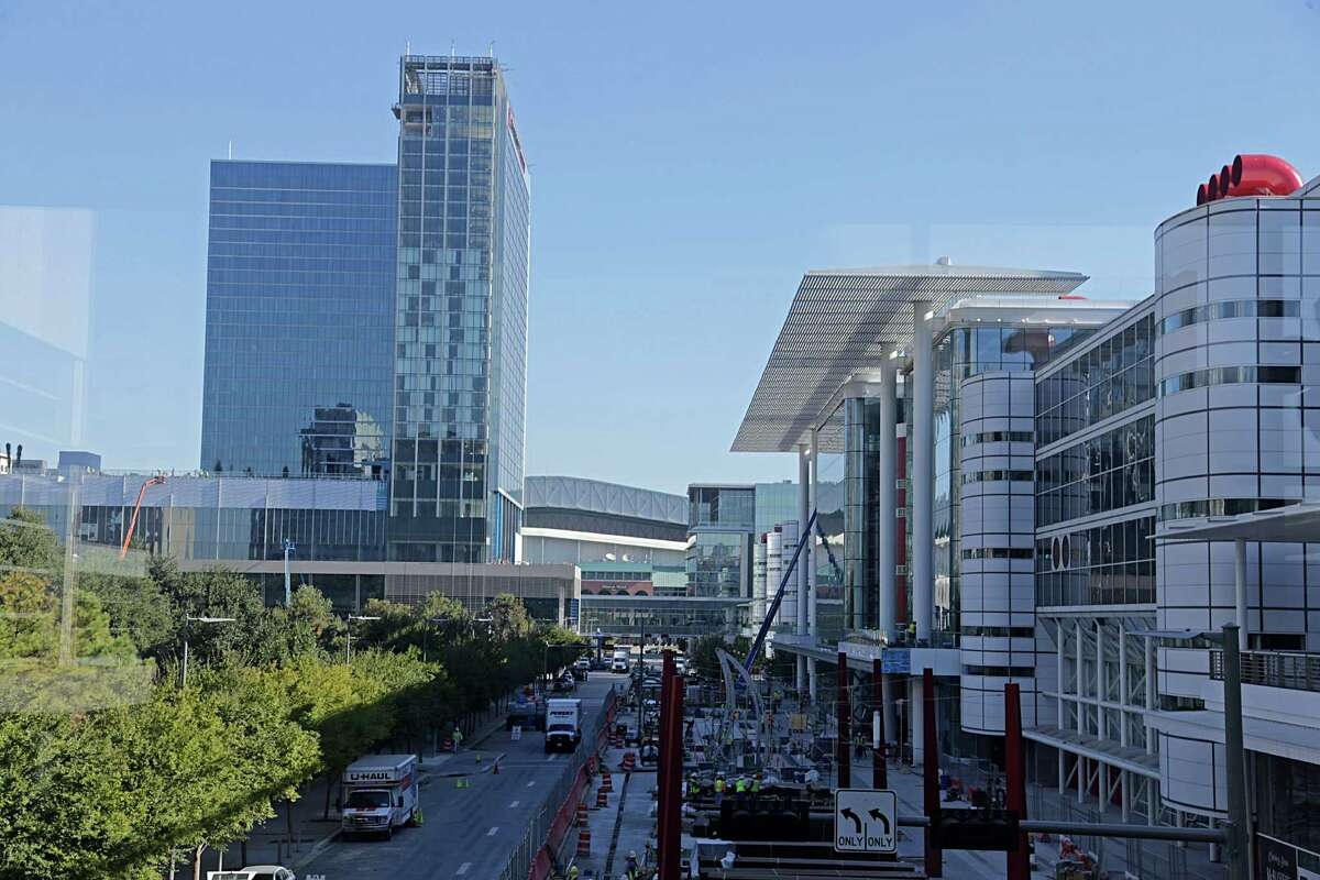 Construction work in front of the George R. Brown Convention Center in downtown continues in advance of the 2017 Super Bowl Oct. 27, 2016, in Houston. ( James Nielsen / Houston Chronicle )