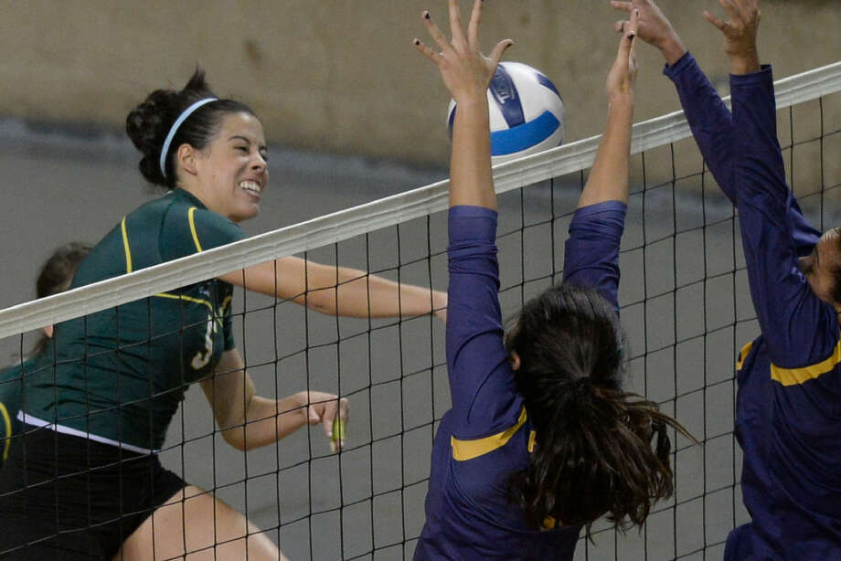 Midland College's Luisa Nieto hits against Frank Phillips College on Saturday, Oct. 29, 2016, at Chaparral Center.