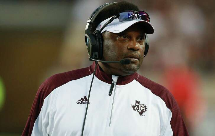 Coach Kevin Sumlin of the Texas A&M Aggies looks on from the sidelines in the first half against the New Mexico State Aggies at Kyle Field on Oct. 29, 2016 in College Station.
