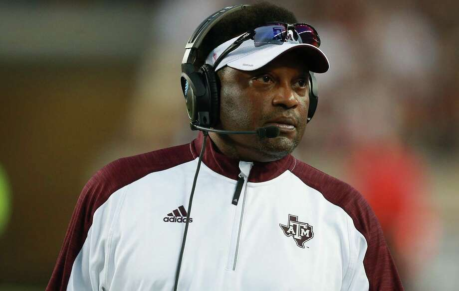 Coach Kevin Sumlin of the Texas A&M Aggies looks on from the sidelines in the first half against the New Mexico State Aggies at Kyle Field on Oct. 29, 2016 in College Station. Photo: Bob Levey /Getty Images / 2016 Getty Images