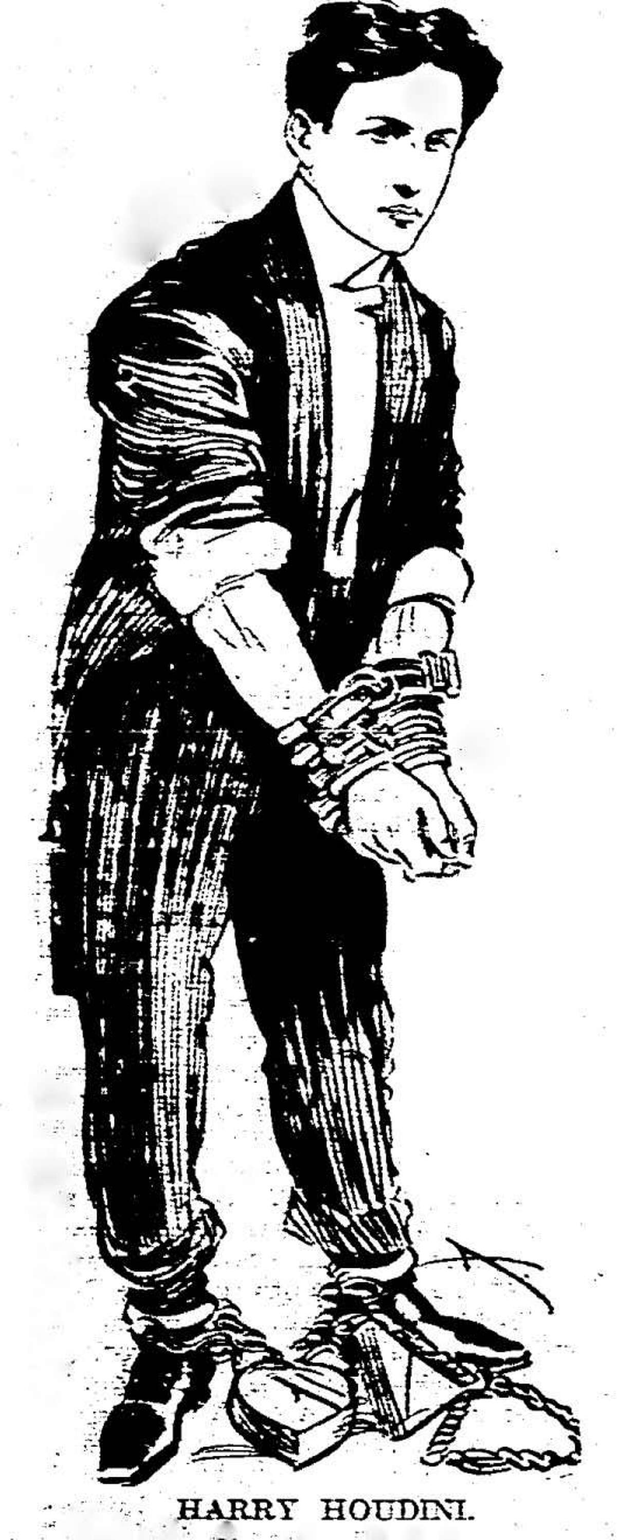 An illustration of Houdini that was published in the Aug. 12, 1905 Daily Advocate, which reported that the magician had bought a home in Stamford, Connecticut.