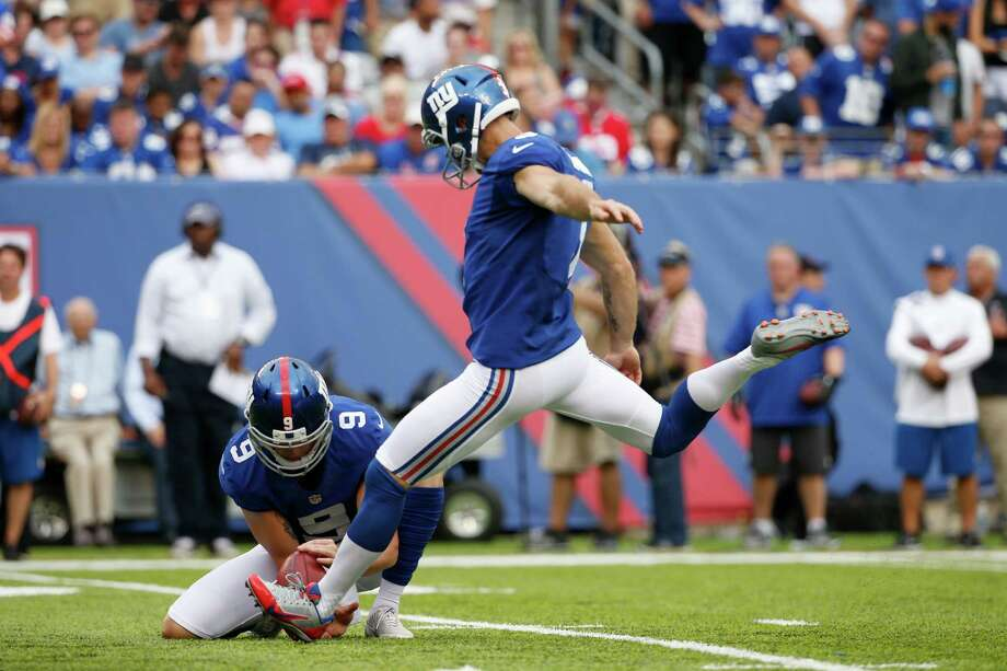 New York Giants kicker Josh Brown (3) kicks a field goal during the second half of an NFL football game against the New Orleans Saints Sunday, Sept. 18, 2016, in East Rutherford, N.J. Allegations of domestic abuse spurred the Giants to release him from the team. (Photo: Associated Press) Photo: Kathy Willens, STF / Copyright 2016 The Associated Press. All rights reserved.