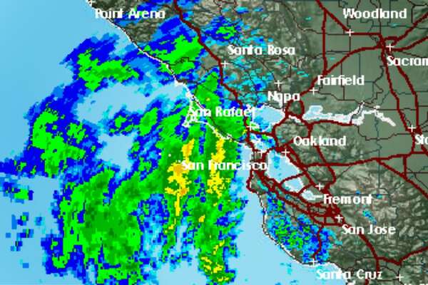 A radar image from the National Weather Service shows a round of wet weather that made its way into the Bay Area on Sunday morning.