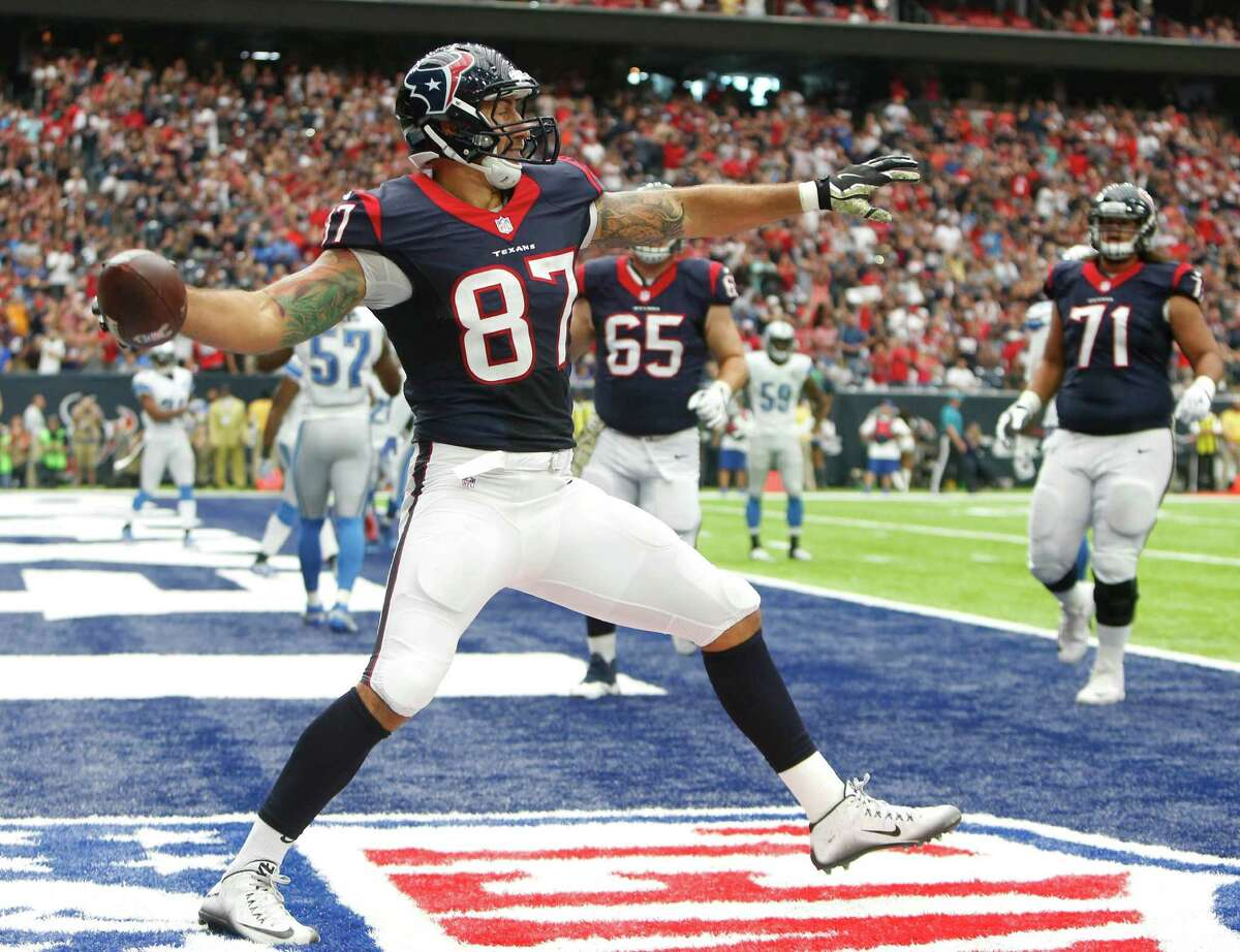 Houston Texans tight end C.J. Fiedorowicz (87) celebrates his 6-yard touchdown reception against the Detroit Lions during the second quarter of an NFL football game at NRG Stadium on Sunday, Oct. 30, 2016, in Houston.