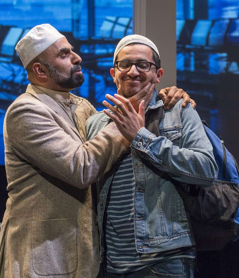 """Sheikh Alfani (Munaf Alsafi) embarrasses his son Hani (Salim Razawi) in """"Our Enemies: Lively Scenes of Love and Combat."""" Photo: David Allen Studio, Golden Thread Productions"""