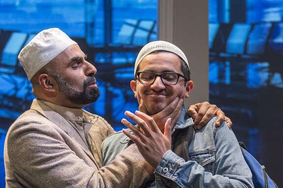 "Mosque leader Sheikh Alfani (Munaf Alsafi, left) embarrasses his�son Hani (Salim Razawi)�in Golden Thread Productions' ""Our Enemies: Lively Scenes of Love and Combat."""