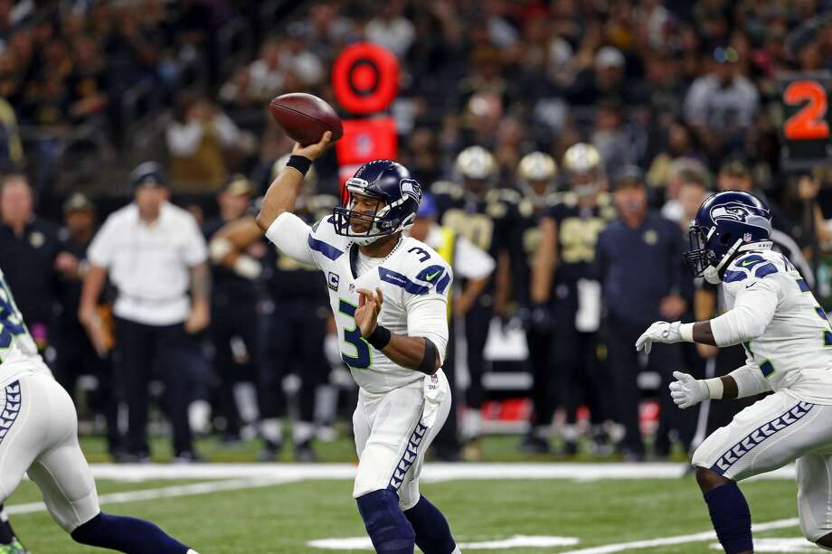 "Sharon Katz & Jacob Nitzberg -- ESPN.comRanked Russell Wilson in the three worst QBs for Week 8, with a 28.6 QB rating: ""Wilson failed to score a touchdown for the third straight game. Wilson had trouble when the Saints sent extra pass-rushers, completing 3 of 8 passes for 21 yards. His Total QBR against the blitz was 4.6, his lowest in a game this season and fourth-lowest in a game in his career."" Photo: Butch Dill/AP"