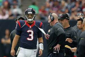 Houston Texans quarterback Tom Savage (3) on the sidelines during the fourth quarter an NFL football game at NRG Stadium, Sunday,Oct. 30, 2016 in Houston.