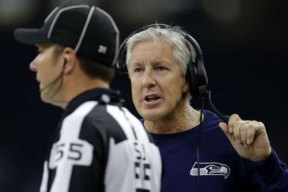 Head coach Pete Carroll of the Seattle Seahawks reacts during the first half of a game against the New Orleans Saints at the Mercedes-Benz Superdome on October 30, 2016 in New Orleans, Louisiana.  (Photo by Jonathan Bachman/Getty Images) Photo: Jonathan Bachman/Getty Images
