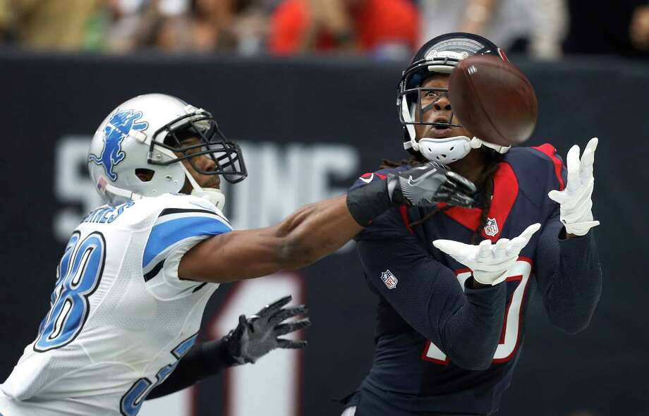 Houston Texans wide receiver DeAndre Hopkins (10) catches the ball out of bounds in the end zone against Detroit Lions cornerback Adairius Barnes (38) during the second quarter an NFL football game at NRG Stadium, Sunday,Oct. 30, 2016 in Houston. Photo: Karen Warren, Houston Chronicle / 2016 Houston Chronicle