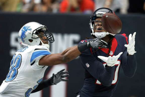 Houston Texans wide receiver DeAndre Hopkins (10) catches the ball out of bounds in the end zone against Detroit Lions cornerback Adairius Barnes (38) during the second quarter an NFL football game at NRG Stadium, Sunday,Oct. 30, 2016 in Houston.
