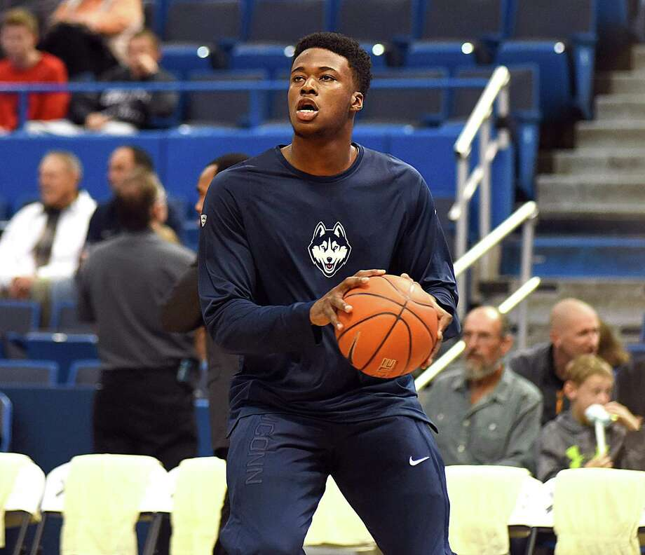 Steven Enoch, a sophomore at UConn, puts up a shot during warm-ups at Sunday's exhibition game against the University of New Haven at the XL Center in Hartford. Photo: John Nash / Hearst Connecticut Media / Norwalk Hour