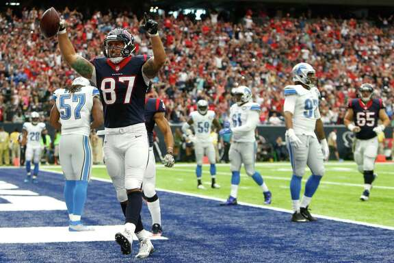 Houston Texans tight end C.J. Fiedorowicz (87) celebrates his 6-yard touchdown reception against the Detroit Lions during the second quarter of an NFL football game at NRG Stadium on Sunday, Oct. 30, 2016, in Houston. ( Brett Coomer / Houston Chronicle )