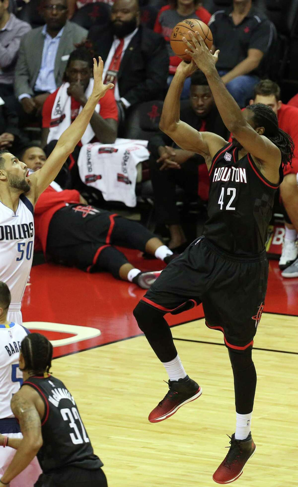 Houston Rockets center Nene Hilario (42) goes for the basket during the first half of the game at Toyota Center Sunday, Oct. 30, 2016, in Houston.