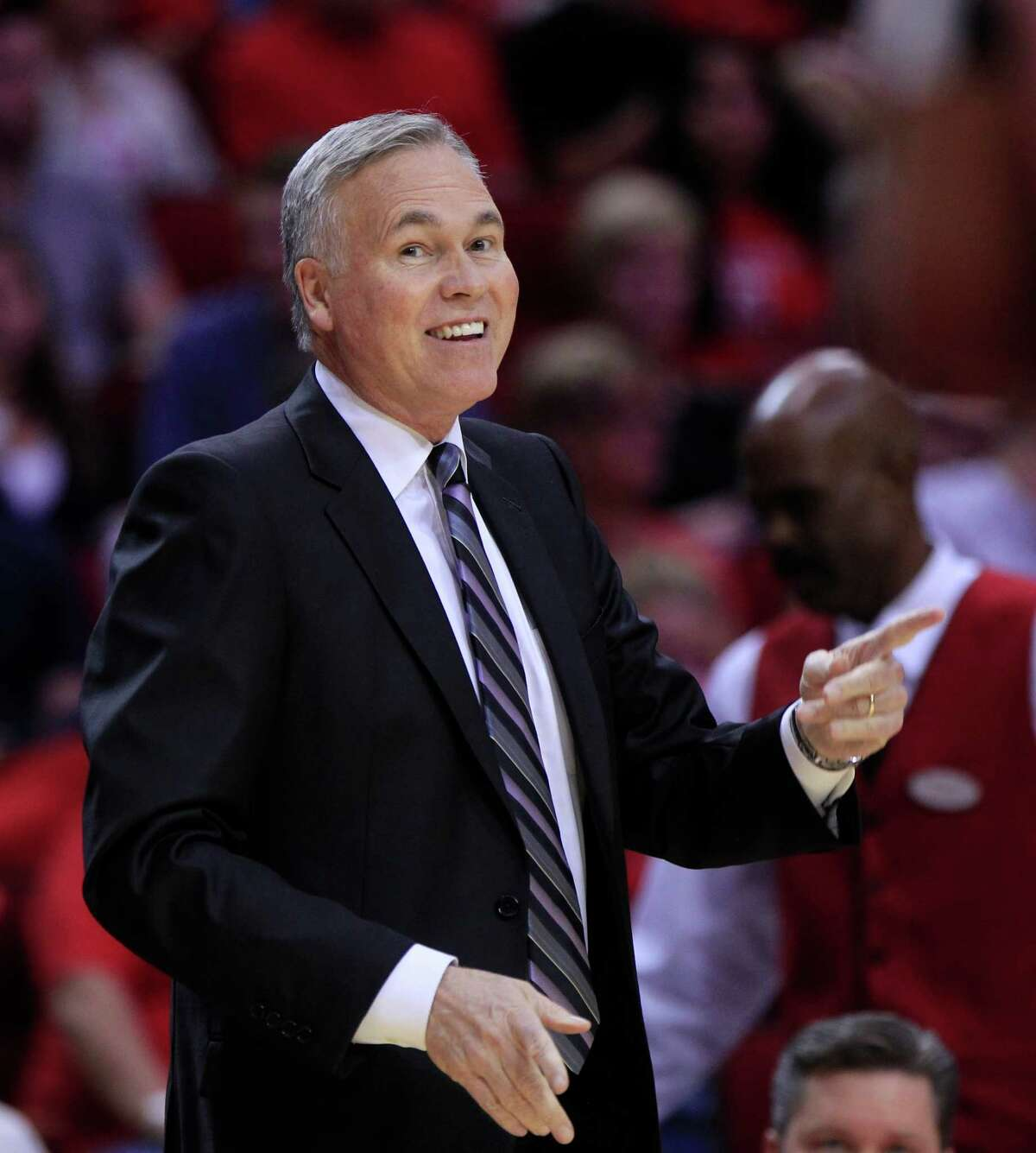 Rockets head coach Mike D'Antoni talks to his team during the Houston Rockets game against the Dallas Mavericks at the Toyota Center, Sunday, Oct. 30, 2016, in Houston.