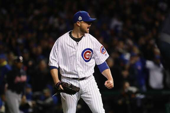 CHICAGO, IL - OCTOBER 30:  Jon Lester #34 of the Chicago Cubs reacts after pitching in the fifth inning against the Cleveland Indians in Game Five of the 2016 World Series at Wrigley Field on October 30, 2016 in Chicago, Illinois.  (Photo by Jonathan Daniel/Getty Images)