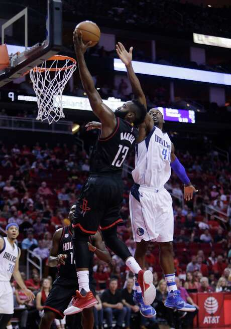 Rockets guard James Harden made only about a third of his shots Sunday (8-of-23), but he managed 28 points and a game-winning free throw at Toyota Center. Photo: Mark Mulligan, Staff / © 2016 Houston Chronicle
