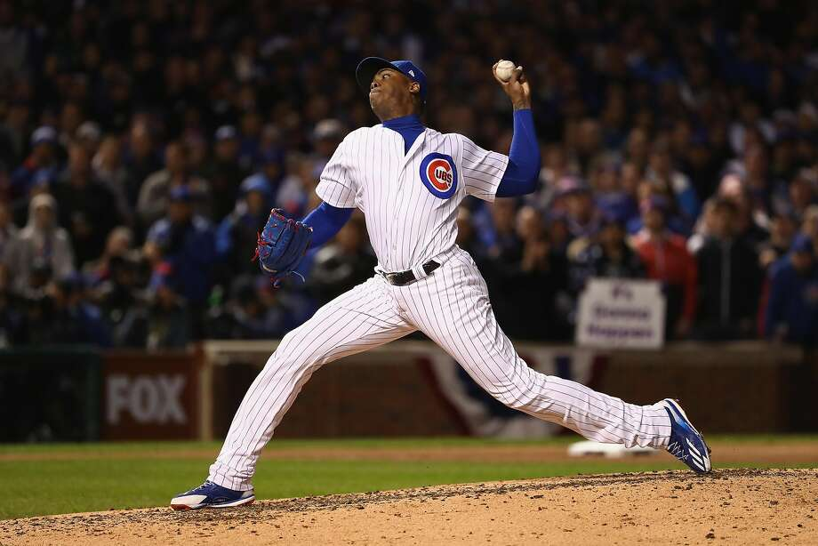 Aroldis Chapman entered in the seventh inning and got eight outs for the save against the Indians as the Cubs forced a Game 6 in Cleveland with their win at Wrigley Field. Photo: Elsa, Getty Images