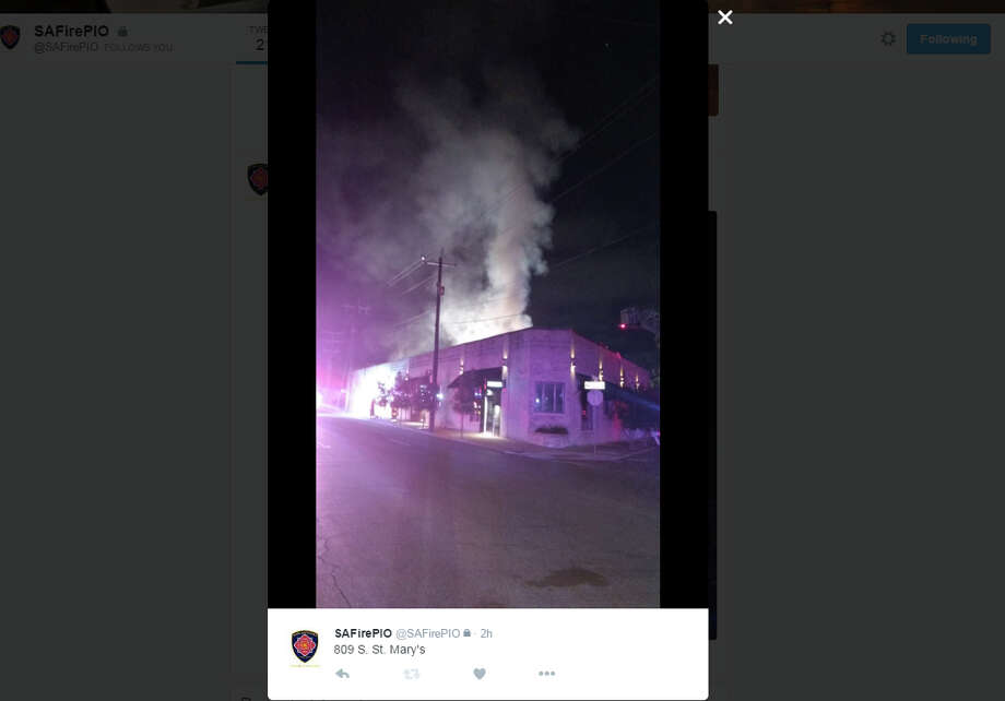 Emergency crews respond to the scene of a fire at Francis Bogside in Southtown at 809 S. St. Mary's on Monday, Oct. 31, 2016. Photo: Twitter/SAFirePIO