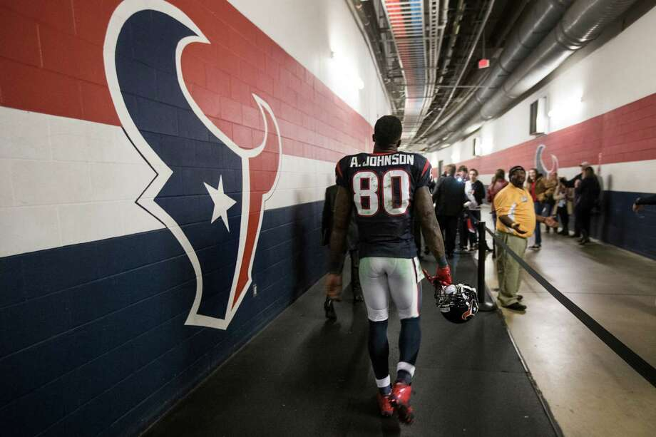 Houston Texans wide receiver Andre Johnson (80) walks off the field after the Texans 23-17 win over the Jacksonville Jaguars at NRG Stadium on Sunday, Dec. 28, 2014, in Houston. ( Brett Coomer / Houston Chronicle ) Photo: Brett Coomer, Staff / © 2014  Houston Chronicle