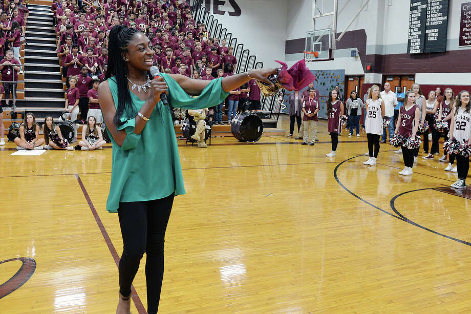 Reigning WNBA MVP and league champion Nneka Ogwumike speaks to Cy-Fair High School students at a special pep rally in her honor at the school she attended on Oct. 28. Photo: Cypress-Fairbanks ISD