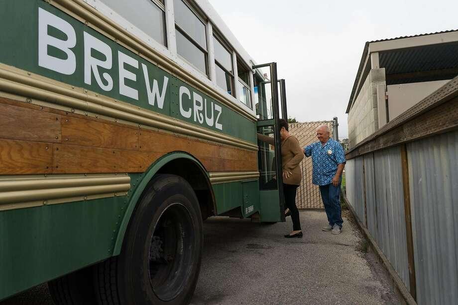 Terry Beatty prepares to board the Brew Cruz at Santa Cruz Mountain Brewing in Santa Cruz. Photo: James Tensuan, Special To The Chronicle