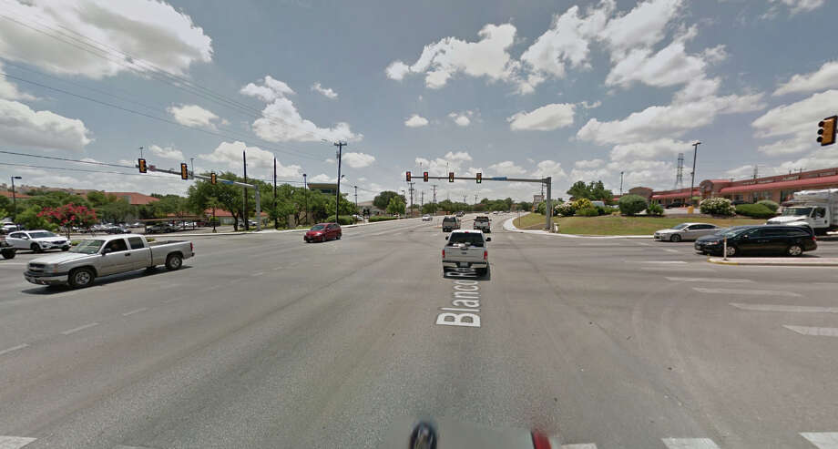 A motorcyclist being chased by a Bexar County constable on Friday, Oct. 28, 2016, was traveling southbound on Blanco Road when he ran a red light at Huebner Road, and struck two vehicles. The motorcyclist died from multiple injuries. Photo: Google Maps