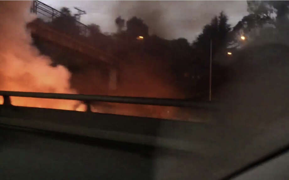 A bus was engulfed with flames on I-280 in San Francisco early Monday morning, Oct. 31, 2016. Photo: Courtesy Christopher F. Smith
