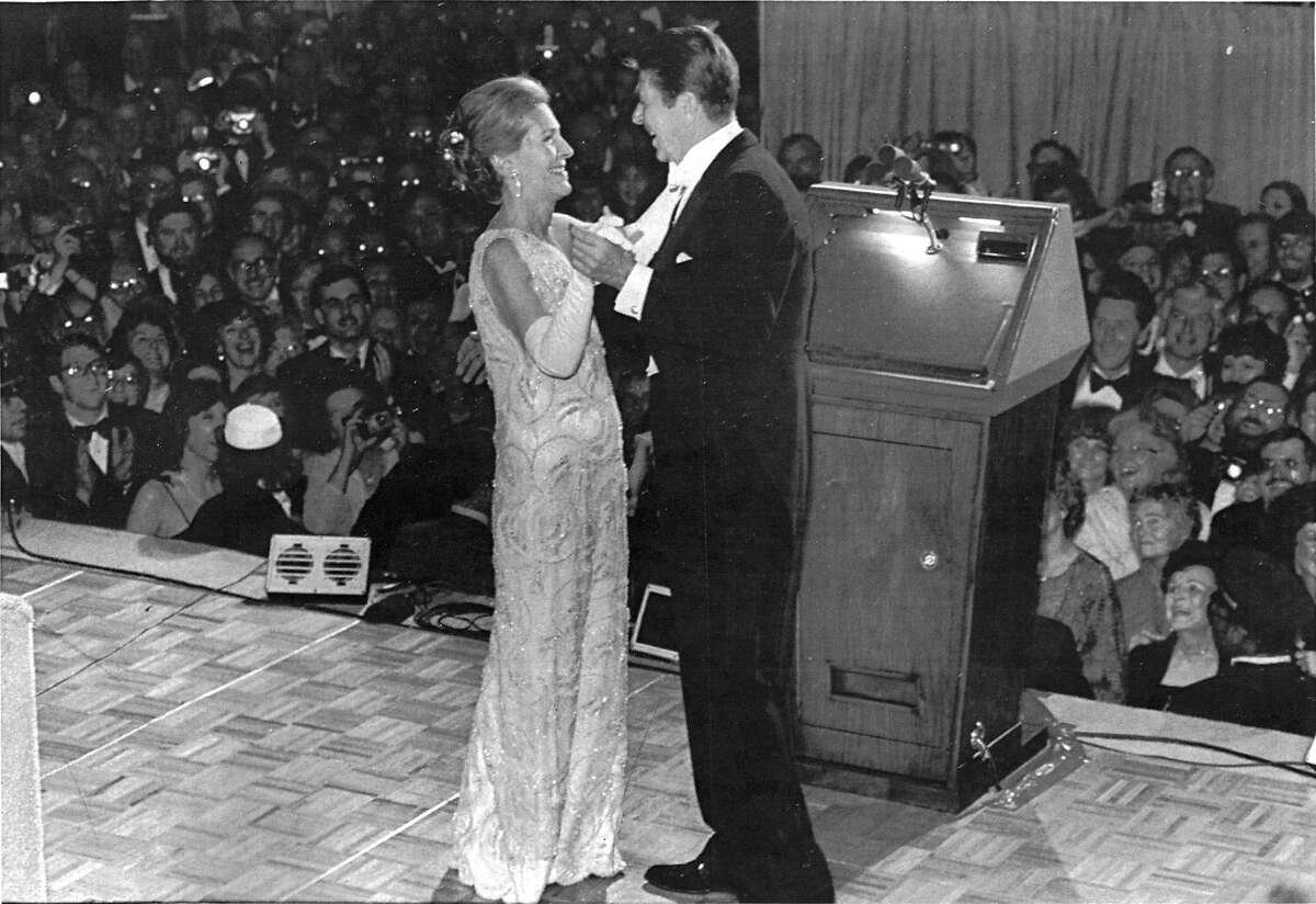 FILE -- Nancy Reagan at the inaugural ball with her husband President Ronald Reagan, in a gown by James Galanos, in Washington, in 1981. Among political wives, few have been as favorably inclined toward fashion and its designers, whom Reagan championed and befriended, and whose profile she raised during her time in the White House. (The New York Times)