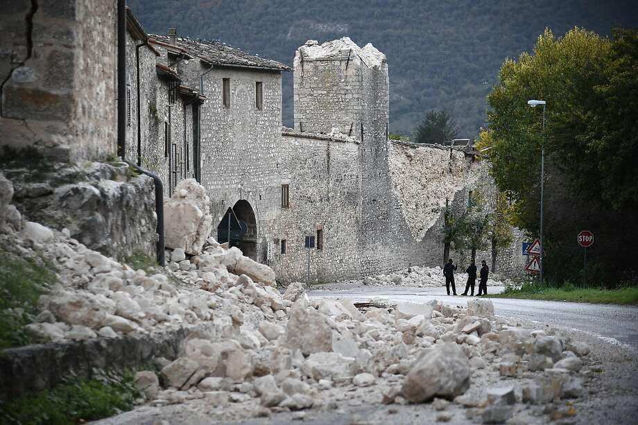 Police patrol amid rubble in the village of Norcia. The earthquake was the strongest to hit Italy in 36 years. Photo: FILIPPO MONTEFORTE, AFP/Getty Images
