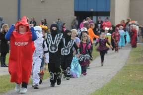Bad Axe Elementary students hold their annual Halloween parade around campus.