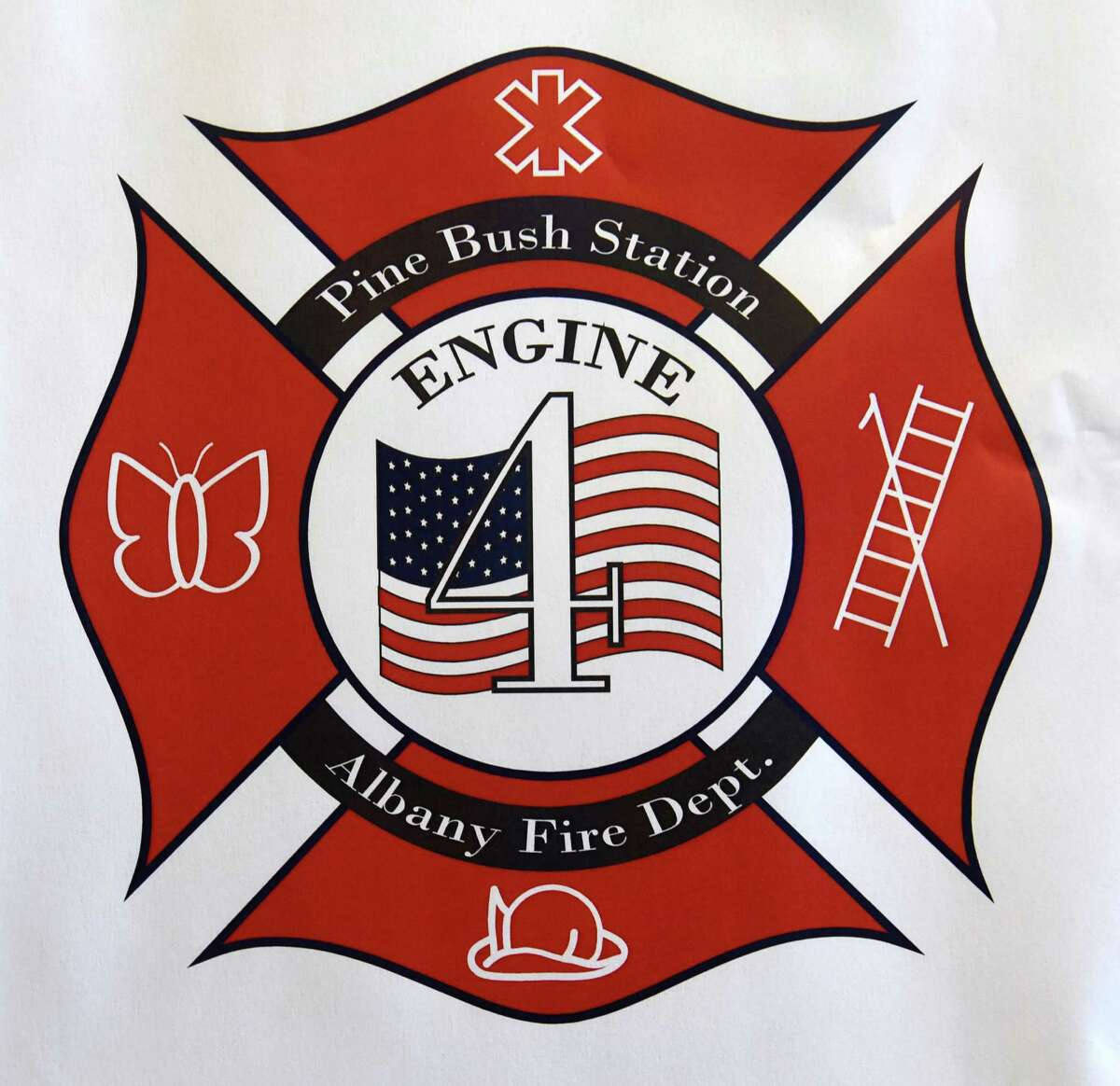 Patch design made by Isobella Grubb-Kavach which received the first place award after members of the Albany Fire Department and Mayor Kathy Sheehan selected three design finalists for their new Engine 4 patch at Tech Valley High School located at SUNY Poly campus on Monday, Oct. 31, 2016 in Albany N.Y. Her winning design will form the basis for a new patch that will be worn on uniforms of the firefighters from Engine 4, which covers Washington Avenue Extension area. (Lori Van Buren / Times Union)