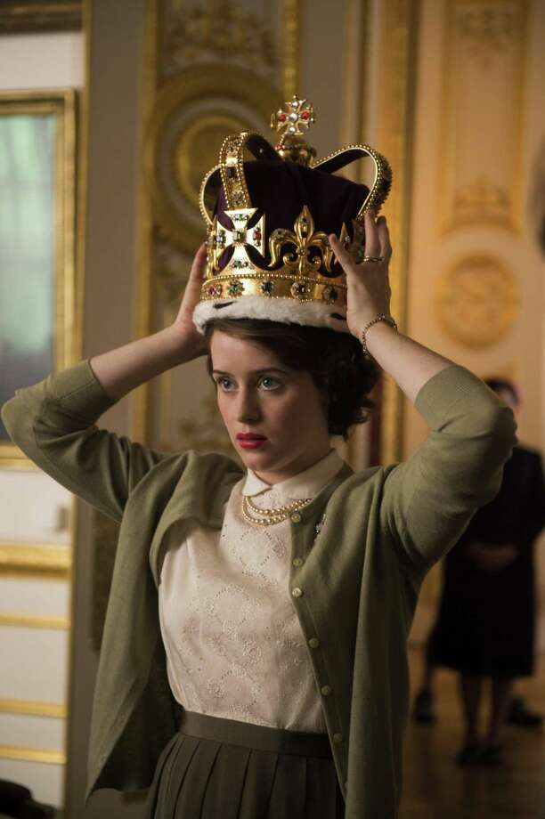 "Elizabeth II (Claire Foy) practices wearing the 5-pound crown in ""The Crown."" Photo: Netflix / Netflix"