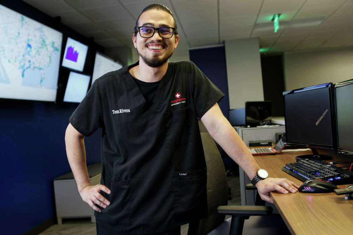 Tom Rivera poses for a portrait at Neighbors Emergency Center on Friday, Sept. 30, 2016, in Houston. Rivera was promoted from truck driver to the IT desk because he was good with computers. Scrubs are worn by employees on Fridays, so they can stay in touch with the clinical side of the business. ( Brett Coomer / Houston Chronicle )