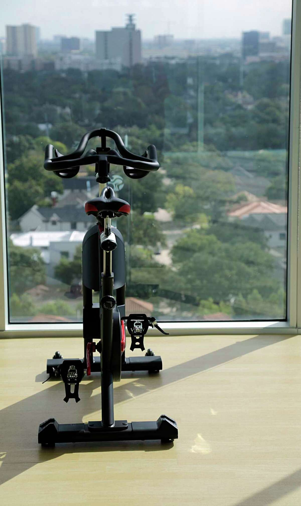 An exercise bike in the gym at the Alliantgroup offices in Houston.
